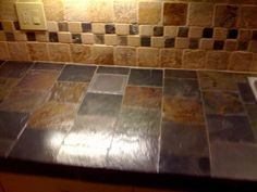 Slate Tile Countertop Tumbled Marble Backsplash In 2008 Work By Sean Murray