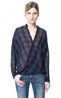 CHECKED CROSSOVER SHIRT - Tops - Woman | ZARA United States  With honey hued booties and ripped black skinnies