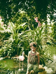 Mixed floral prints and an ethnic necklace for Scotch R'Belle spring 2014 girls fashion