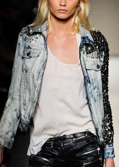 Balmain Studded Denim Jacket would look great with a @LANIVINCOLI necklace! Description from pinterest.com. I searched for this on bing.com/images