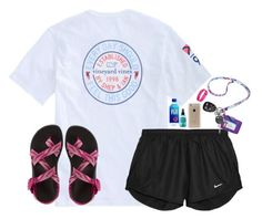 """""""✧;; tennis with the fam"""" by harknessl ❤ liked on Polyvore featuring NIKE, Chaco, Vera Bradley, Speck, Bumble and bumble and Fitbit"""