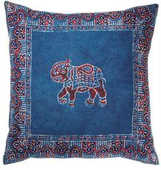 Block Print Elephant Cushion Read More:- Gorgeous blue and red block print elephant cushion.