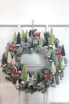 Mini Village Wreath � Pennies From Heaven Home. Christmas Wreath, Bottlebrush tree wreath