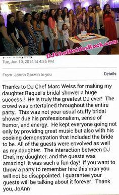 Dj Chef Reviews Cooking Cl Bridal Shower Bachelorette Party Fun Unique Bride Wedding Long Island Ny