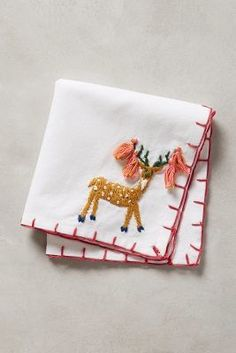 Anthropologie Embroidered Andes Cocktail Napkin #anthrofave #anthropologie