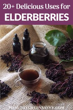 There are so many delicious uses for elderberries besides elderberry syrup! Learn about more than 20 uses for fresh, dried, or frozen elderberries to make delicious treats, drinks, and much more. Plus important preservation and safety tips based on the latest research. #elderberry #medicinalplants #herbalism #seasonaleating #homeremedies #health #naturalremedies Elderberry Uses, Elderberry Syrup, Elderberry Season, Herbal Remedies, Natural Remedies, Real Food Recipes, Healthy Recipes, Eat Seasonal