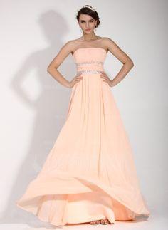 A-Linie/Princess-Linie Trägerlos Bodenlang Chiffon Festliche Kleid mit Rüschen Perlen verziert (020016074)