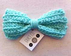 Oversived Crocheted Hair Bow in Mint // by by GraceCoHandmade, $7.00