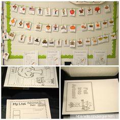 Fall writing station for kindergarten