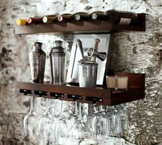 Holman entertaining shelves at Pottery Barn make great use of space!