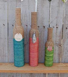 Set of 3 Dyed Jute Wrapped Bottles, Beach, Coastal, Summer Decor, Vase Wine Bottle Art, Diy Bottle, Wine Bottle Crafts, Mason Jar Crafts, Mason Jar Diy, Yarn Bottles, Twine Bottles, Bottles And Jars, Wrapped Bottles