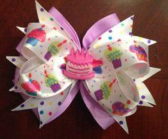 Items similar to Custom made Boutique Birthday Hair Bow on Etsy Kids Hair Bows, Baby Hair Bows, Ribbon Hair Bows, Bow Hair Clips, Girls Bows, Princess Hair Bows, Birthday Hair, Happy Birthday, Boutique Hair Bows