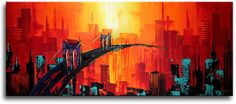 Schilderij Bridge to Nowhere City Art, Painting Inspiration, Beautiful Day, The Neighbourhood, Bridge, Building, Canvas, Paintings, Board