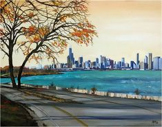 Lake Shore Drive Chicago Oil Painting 15x12in Giclee by ArtdeJoie