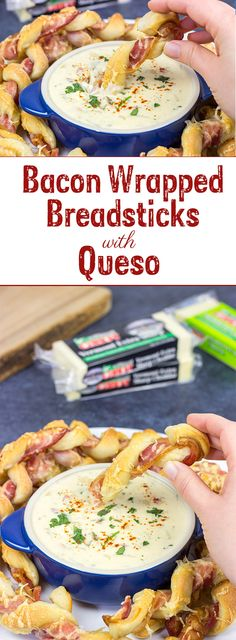 Bacon. Cheese. Breadsticks. What else do you need? These Bacon Wrapped Breadsticks with Queso are a unique and delicious football party appetizer!