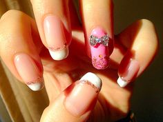 #manicure #french #pink #bow #glitter #rose #lovemanicure