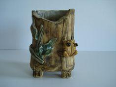 Vintage Wood Look Frog Vase Tree Vase Leaf by AllThatVintageNmore, $15.00
