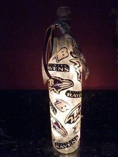 Handmade Lighted Wine Bottle w/ Baltimore RAVENS by BottlesbyKaren