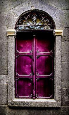 doors in greece, color, close door, purple window, purpl door