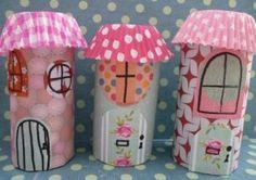 Huisjes knutselen wc rol. Toilet roll house Craft