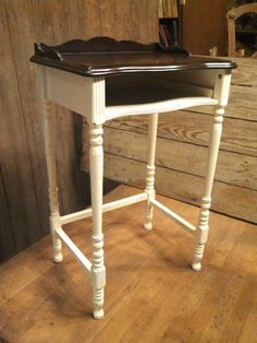 Custom 1920s cottage telephone table in antique ivory & espresso