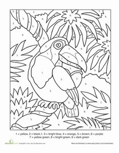 Für Kinder: Using the guide at the bottom, your child can color in this toucan in lifelike c… Fall Coloring Pages, Pattern Coloring Pages, Coloring Sheets For Kids, Coloring Books, Coloring Worksheets, Printable Coloring, Rainforest Activities, Color Activities, Color By Numbers