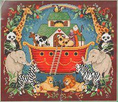 "1993 VINTAGE SUNSET ANIMALS ""NOAH'S ARK TAPESRTY"" NEEDLEPOINT KIT ~ SEALED"