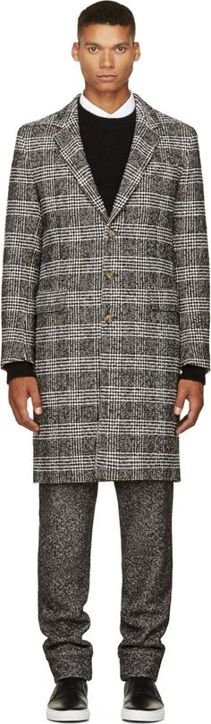 AMI Alexandre Mattiussi: Black & White Tweed Check Coat | SSENSE