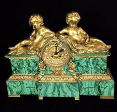 19TH CENTURY RUSSIAN MALACHITE AND DORE BRONZE CLOCK Old Clocks, Antique Clocks, Vintage Clocks, Furniture Near Me, Furniture Decor, Furniture Design, Date, Luxury Furniture Stores, Unusual Clocks