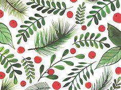 Berries, holly and pine leaves watercolor by Margaret Berg Art Christmas Design, Christmas Art, Christmas Holidays, Xmas, Christmas Patterns, Christmas Berries, Textures Patterns, Print Patterns, Guache