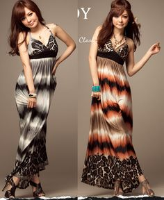 Fashion Dress Summer 2013   2013 Fashion Leopard Printed Dress Two Color V Neck Summer Long Dress ...