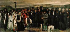 'Begräbnis in Ornans', öl auf leinwand von Gustave Courbet (1819-1877, France)
