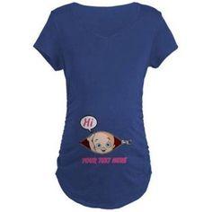 Cafepress Personalized Pink Baby Girl Peek A Boo Pregnancy Maternity Dark T-Shirt, Size: XL, Blue