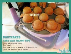 Babycakes Cake Pop Maker - Fad or Fabulous? We try it out with two very different recipes and we share our flops, hints, and tips for perfect cakeballs. Babycakes Recipes, Babycakes Cake Pop Maker, Baby Cakes Maker, Baby Cake Pops, Mini Doughnuts, Churro Donuts, Strawberry Cake Pops, Tool Cake, Cookie Pops