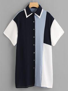 Multicolor Color Block Double Collar Buttoned Shirt Dress