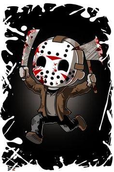 Halloween Horror Movies, Halloween Icons, Scary Movies, Arte Horror, Horror Art, Jason Voorhees Drawing, Jason Voorhees Wallpaper, Friday Cartoon, Horror Drawing