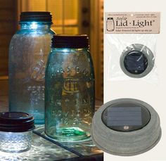 This solar lid light features a handle and fits any standard Mason jar. (does not fit wide-mouth jars.) Use these lights outside or inside. Water-resistant solar cell, replaceable and rechargeable bat