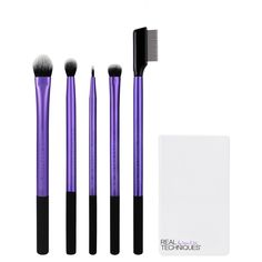 Our enhanced eye set has every brush you need to create any eye look:<br><br>• Medium shadow brush: wide + flat with tapered bristles to softly sweep + blend powder or cream shadows<br>• Essential crease brush:  soft, tapered design for effortless shaping using powder or cream shadows<br>• Fine liner brush: the ultimate tool for precision application of liquid or cream eyeliner<br>• Shading brush: short + dense for max color pi...