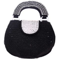 Bougainvillea Black Beads and Clear Stones Handbag