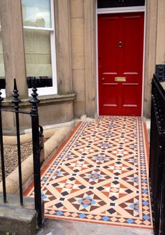 Our latest victorian floor tile contract, completed July We love this pattern created from our Original Style geometric collection. Victorian Porch, Victorian Tiles, Front Path, Tile Steps, Tiled Hallway, Terracotta Floor, Traditional Tile, Tile Manufacturers, Outdoor Tiles