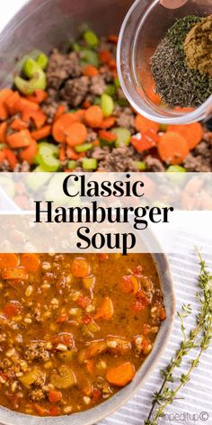 Classic Hamburger Soup – Whipped It Up Dinner Soup – Dinner Recipes Easy Soup Recipes, Chili Recipes, Cooking Recipes, Healthy Recipes, Barbecue Recipes, Top Recipes, Healthy Soup, Dinner Recipes, Slow Cooker Hamburger Soup