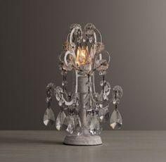 Mini Manor Court Crystal Lamp Vintage White