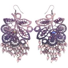 Krista R Purple leaves, beaded earrings ($95) ❤ liked on Polyvore featuring jewelry, earrings, accessories, purple, bijoux, long earrings, purple earrings, bead jewellery, purple jewellery and long beaded earrings