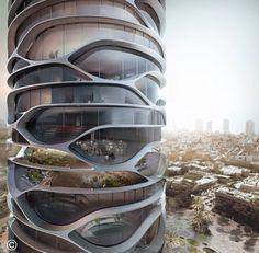 Conceito cilíndrico com aberturas irregulares. #Arquitetônico #Conceitual