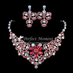 Free Shipping Red Multicolored Rhinestone Necklace and Earrings Wedding Bridal Jewelry Set/Special Occasion Jewelry Set-in Jewelry Sets from Jewelry on Aliexpress.com | Alibaba Group