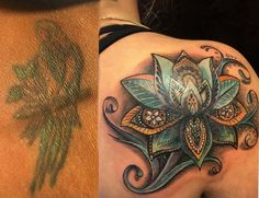 Before and after tattoo. Cover-up done by Wayne Morel. Paisley cover-up tattoo