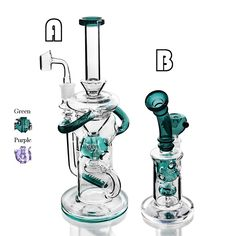 Glass Pipes, Water Pipes, Hookahs, Dab Rig, Green And Purple, Rigs, Luxury, Cannabis, Weed