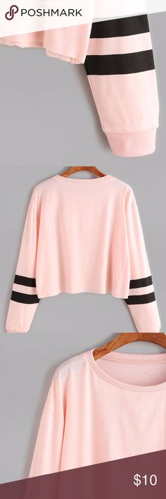 Pink Varsity Striped Sleeve Crop T-Shirt NEW without tags. Cute and very casual! Tops Tees - Long Sleeve