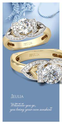 Jeulia Two Tone Round Cut Created White Sapphire Engagement Ring #Jeulia