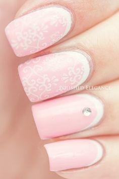 OPI - Pink Friday white pink ruffian manicure nail art reverse french manicure nail art